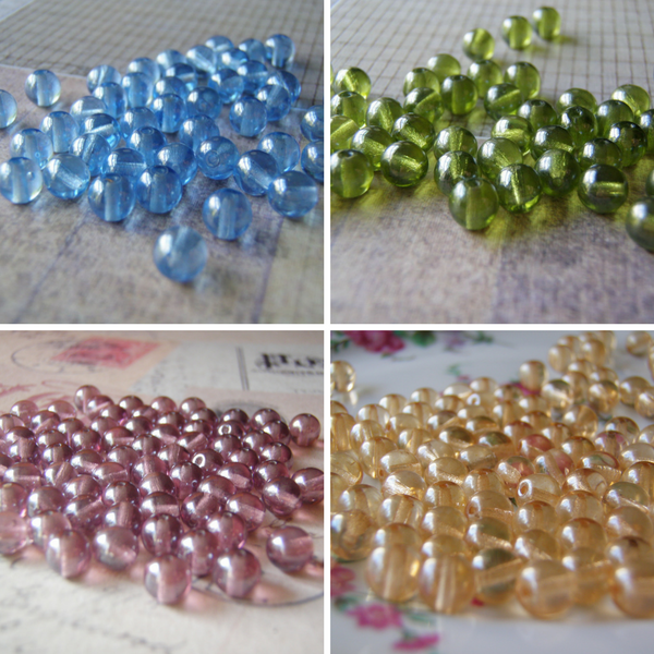 Shimmer Beads 6 mm Fancy Finish Round Czech Glass Four Colors Available 20 Beads