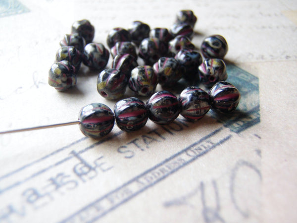 Melon Glass Beads 6 mm Round Black with Raspberry Picasso Finish 10 Beads - Cigar Box Earrings and Supplies  - 5