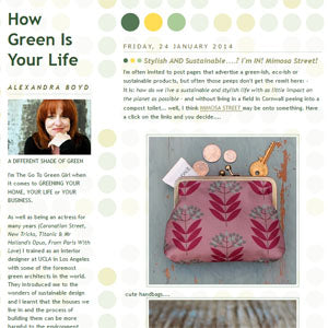Mimosa Street featured in How Green is your Life blog by Alexandra Boyd