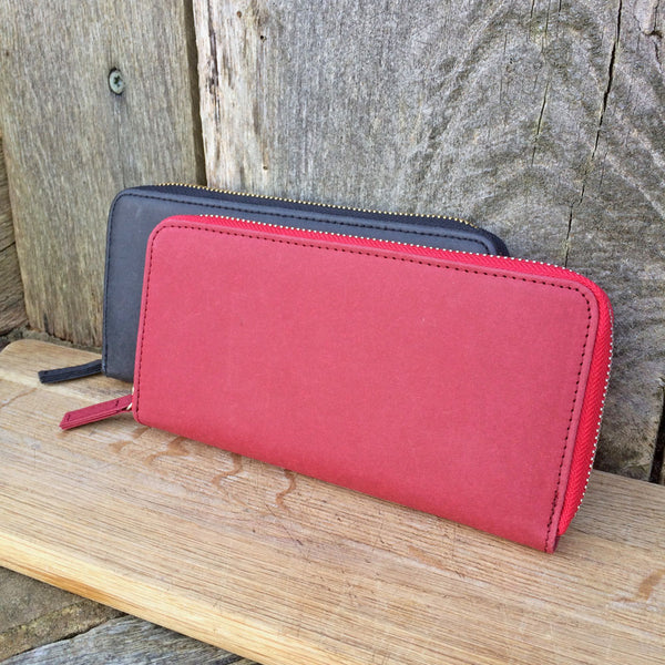 Zip around eco vegan purses with cards slots and a compartment for change - RFID