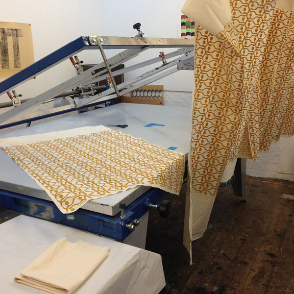 Poppy screen printed fabric drying, Greengage Studios
