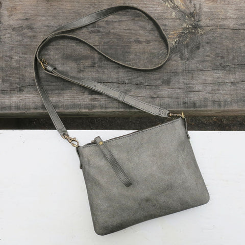 Ananta vegan leather purse with strap pewter Aura Que at Mimosa Street