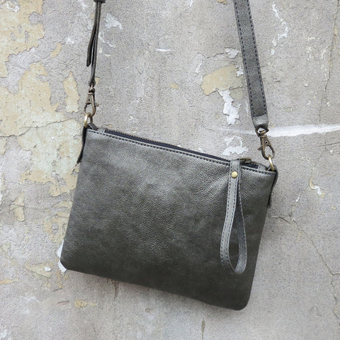 Close up of the Ananta vegan purse in pewter