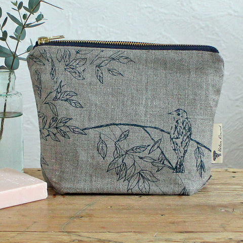 Screen printed birdsong washbag
