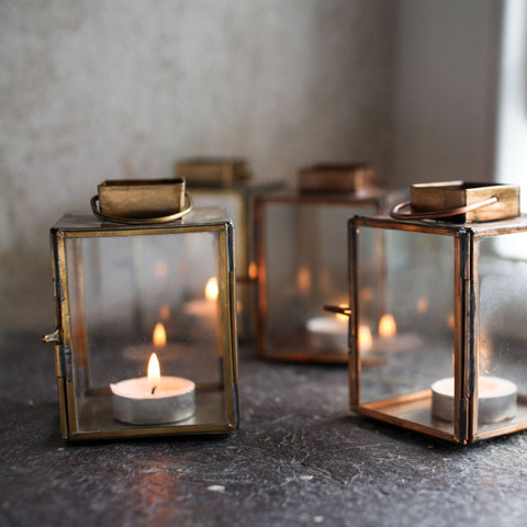 Fairtrade brass lantern tealight holders