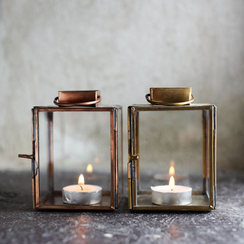 Brass lantern tealight holders, Nkuku at Mimosa Street
