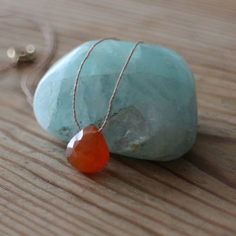 Carnelian crystal drop necklace