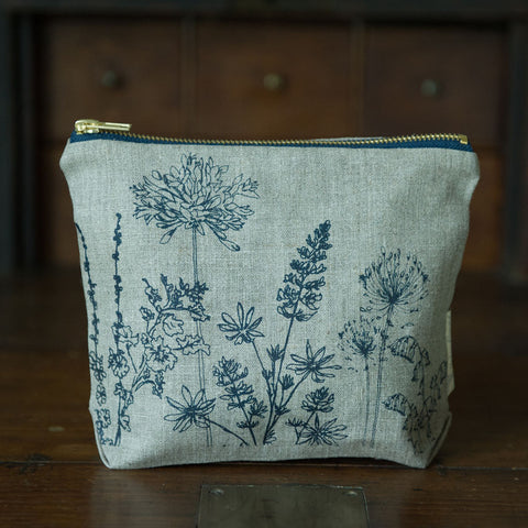 Screen printed country garden washbag
