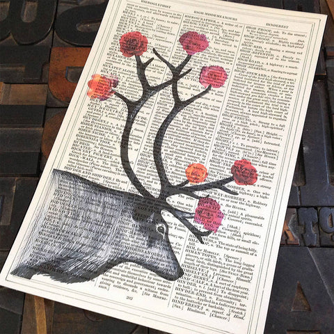 Deer print on antique paper by Roo Abrook at Mimosa Street