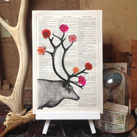 Deer and roses upcycled print by Roo Abrook at Mimosa Street