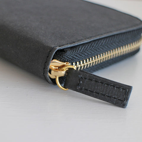 Black zip-around vegan purse, eco purse made from recycled paper