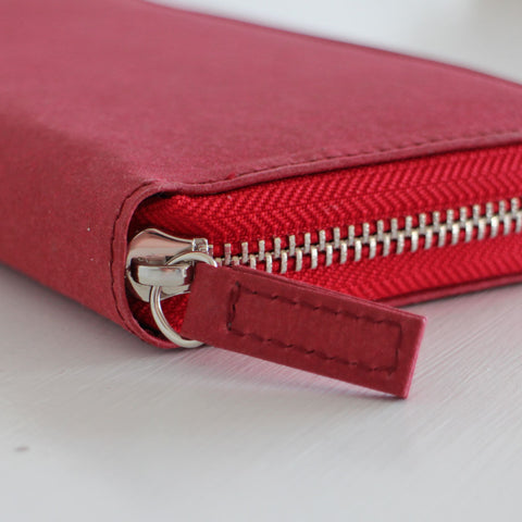 Eco zip-around purse made from recycled paper, vegan purse in red