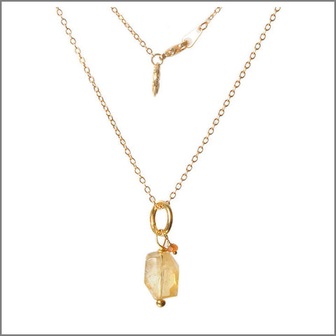 Citrine necklace on gold-plate chain
