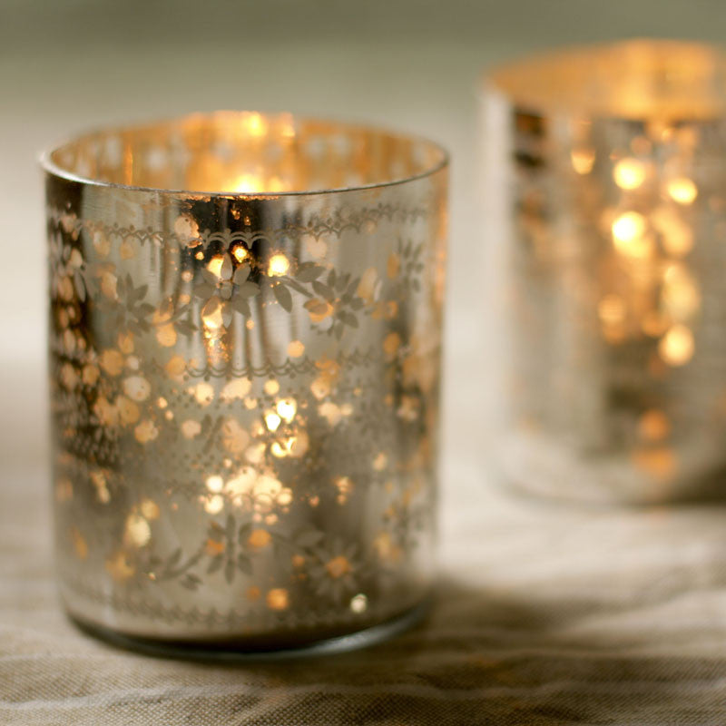 Etched glass tealight holder, recycled glassware at Mimosa Street