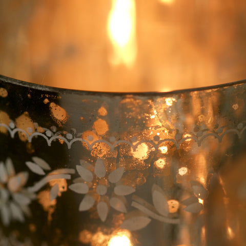 Handmade etched glass tealight holder from Nkuku at Mimosa Street