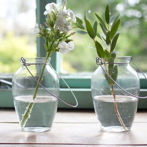 Fairtrade hanging vases made from recycled glass