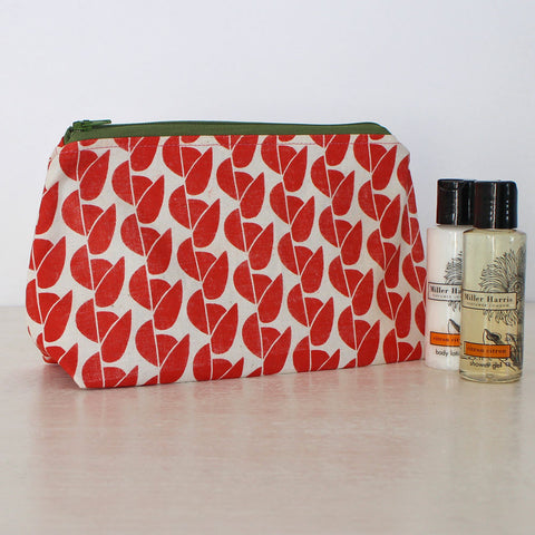 Screen-printed Greengage washbag