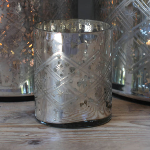 Hand-etched glass tealight holder