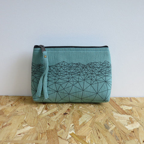 Himalayan mountain clutch purse in mint by Aura Que at Mimosa Street - Halla vegan purse design