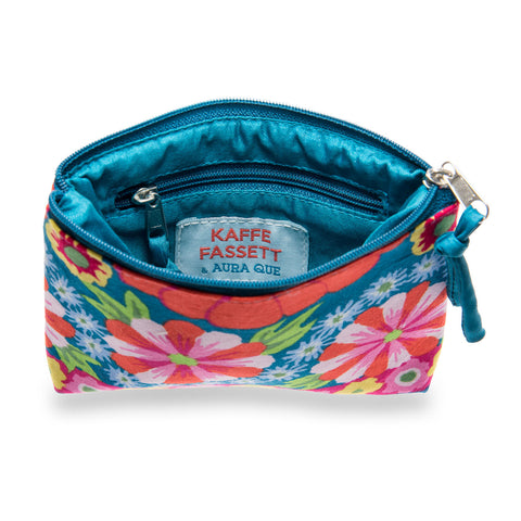 Internal zipped pocket of Kaffe Fassett vegan purse in teal