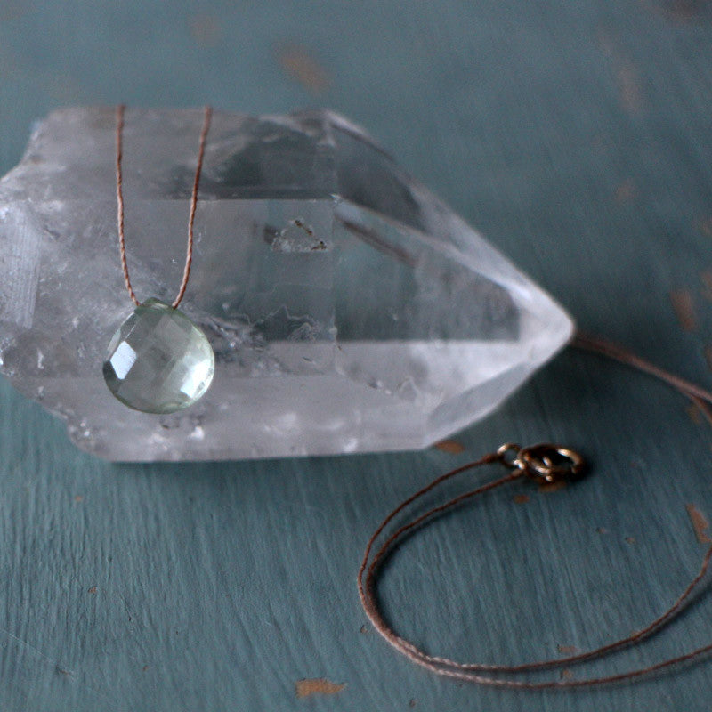 Lagoon green amethyst gem drop necklace