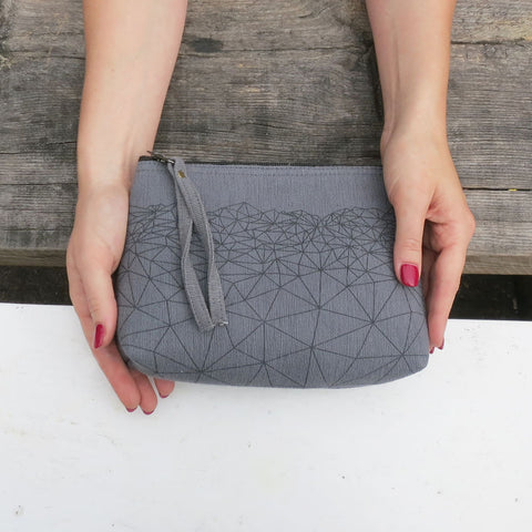 Himalayan mountain clutch purse - grey