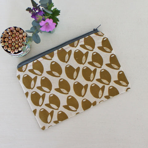 Screen printed olive pouch by Greengage Studios