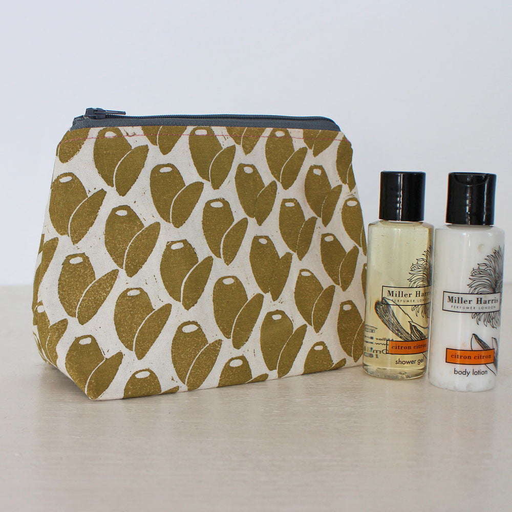 Screen-printed olive washbag