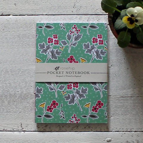 Retro floral pocket notebook