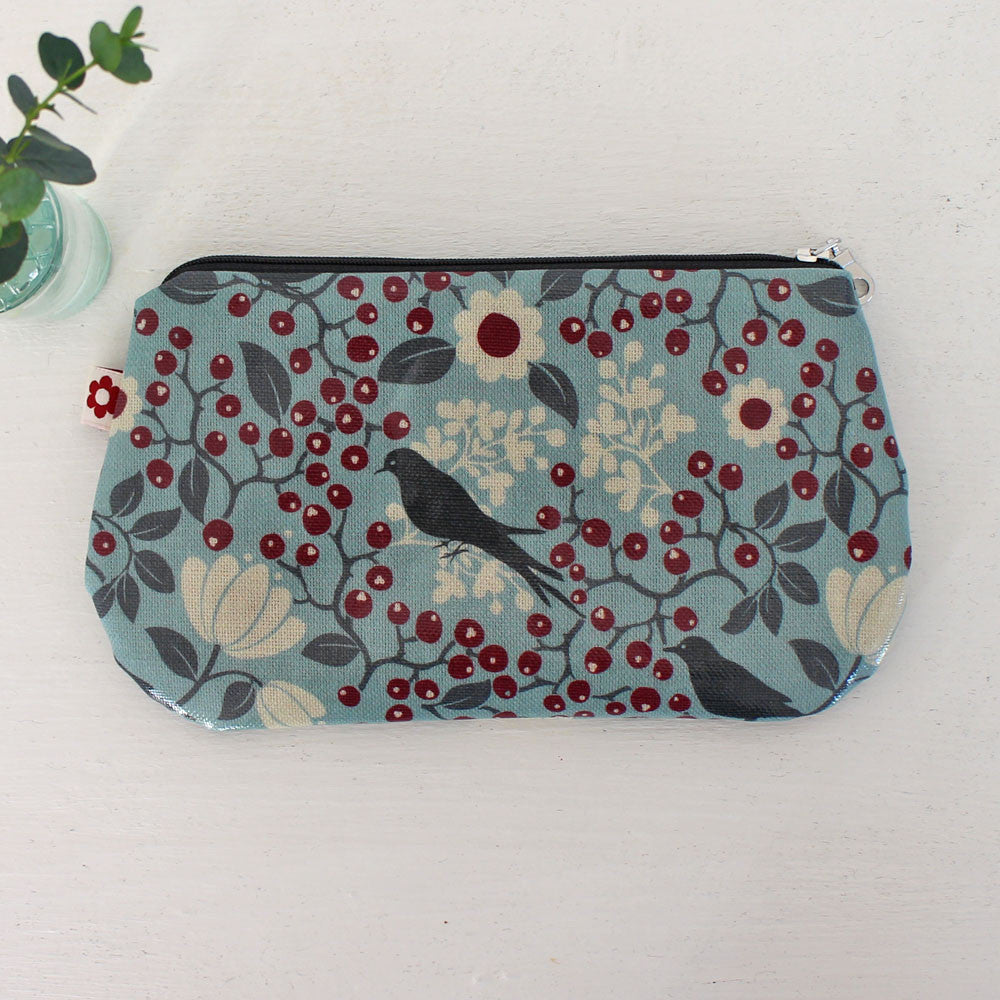 Rowan bird oilcloth purse, vegan purses by Susie Faulks