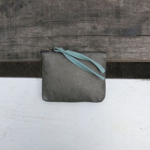 Pewter Tilo vegan purse with mint fabric zip pull