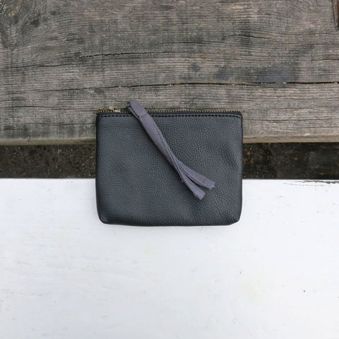 Vegan leather purse in black with grey fabric zip pull, by Aura Que