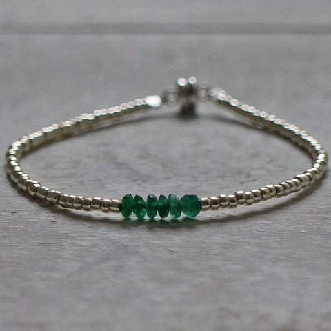Tiny green quartz bracelet
