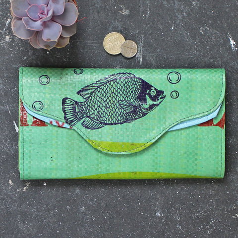 Upcycled green fish clutch purse