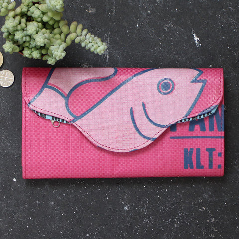 Upcycled pink fish clutch purse