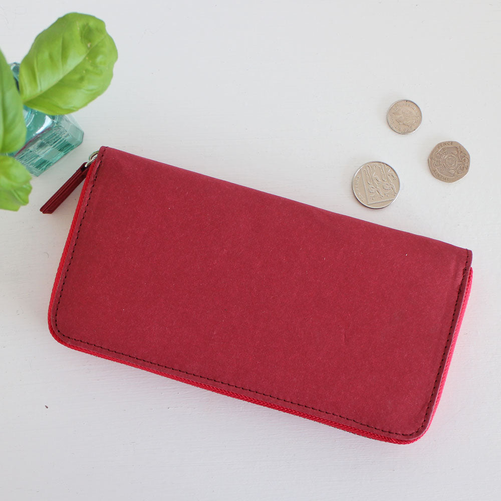 Red zip-around vegan purse, eco friendly purse made from recycled paper