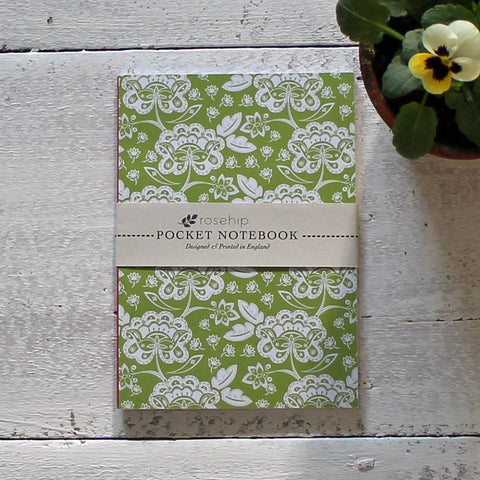 Vintage floral pocket notebook