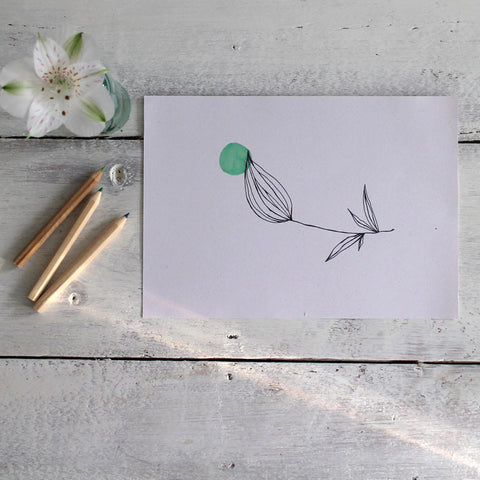 Flower bud screen print - exclusive