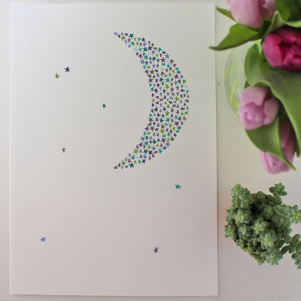 Ingrid Petrie print, Starry moon