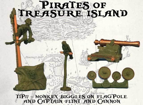 TIP17 – Monkey Biggles on Flagpole  and Captain Flint and Cannon