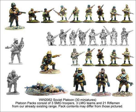 Russian Platoon (30)<br> <EOL>Platoon contains 21 Riflemen, 3 SMGs and 3 LMG Teams