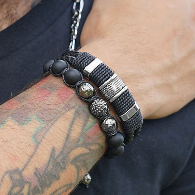 Black Nappa Double Woven Leather Men's Bracelet