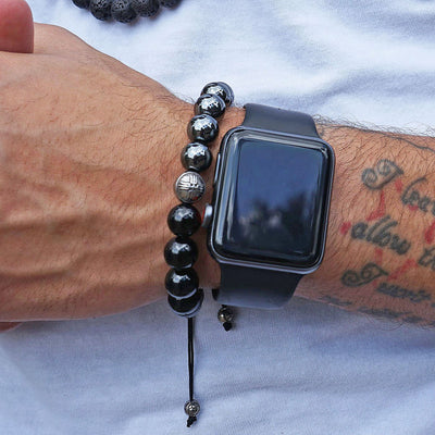 Black Onyx Beaded Bracelet for Men - Summit Series