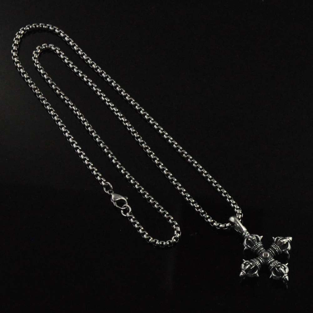 Buddhist Dorje Pendant Necklace for Men in Stainless Steel