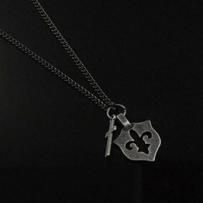 Fleur De Lis and Cross Men's Necklace in Stainless Steel