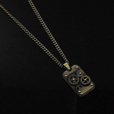 Gears and Studs Tag Mens Necklace in Vintage Stainless Steel