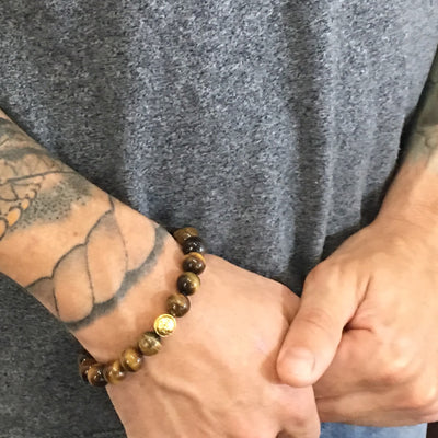 Tiger's Eye Strength and Confidence Men's Beaded Bracelet