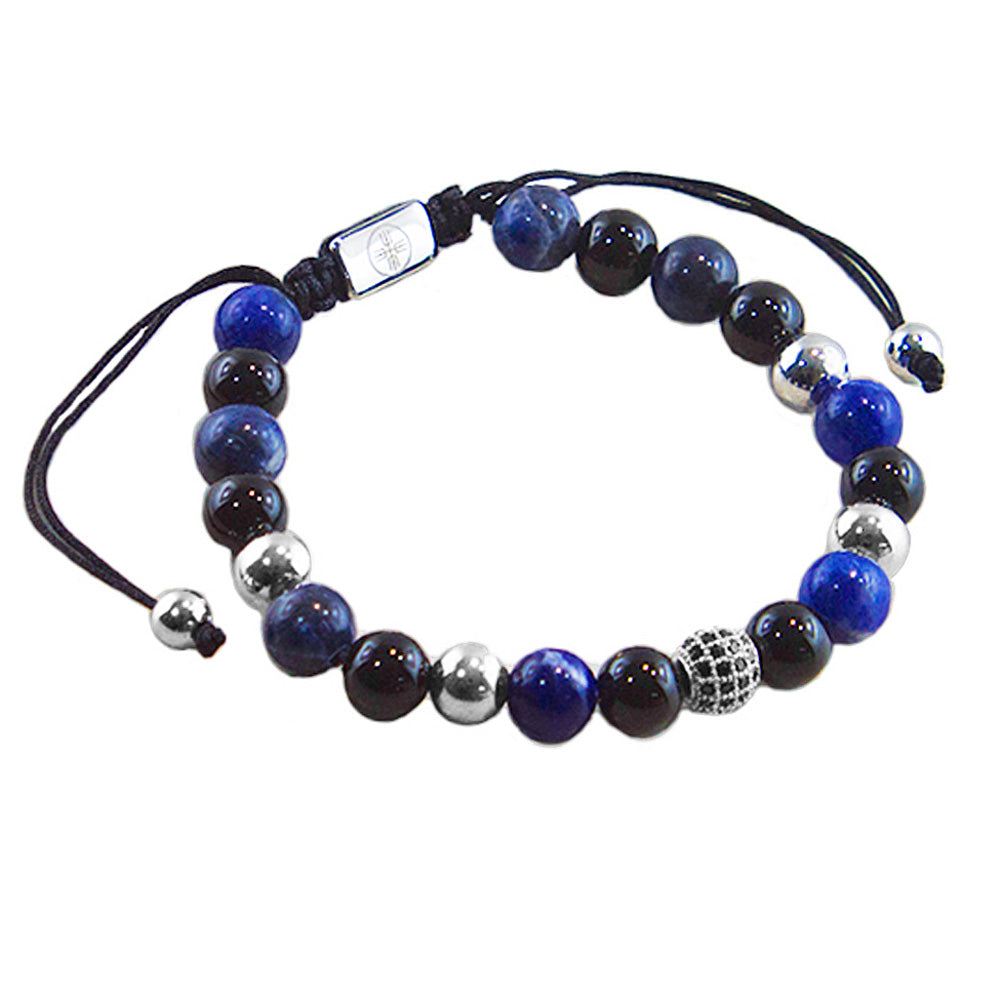 Sydney Beaded Bracelet with Lapis, Black Onyx & CZ Diamonds Pave Beads