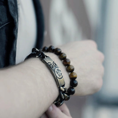 Gears and Studs Mens Bracelet in Vintage Stainless Steel
