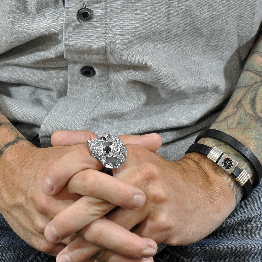 Men's Silver CZ Skull Ring